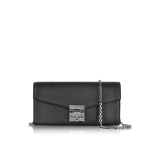 MCM Patricia Large Black Leather 2 Fold Wallet w/Chain at FORZIERI