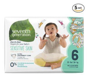 Prime Members Only! 40% + Extra 20% OffSeventh Generation Baby Diapers, Free and Clear for Sensitive Skin, with Animal Prints @ Amazon.com