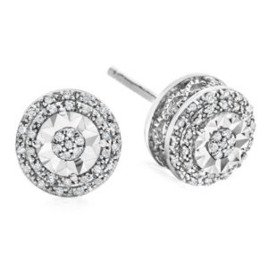 Limited Time Special - 1/10 CT. T.W. Double Halo Diamond Stud Earrings in Sterling Silver