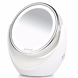 $8.46TEC.BEAN Wireless Portable Tabletop Swivel 360° Vanity Mirror with LED Lights and 7x Magnifying, Chromed Finish