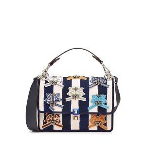 Kan I Embellished Canvas Shoulder Bag - Fendi