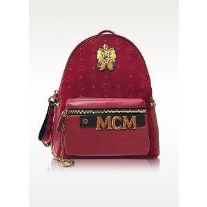 MCM Stark Velvet Insignia Ruby Red Medium Backpack