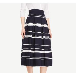 Stripe Pleated Midi Skirt | Ann Taylor