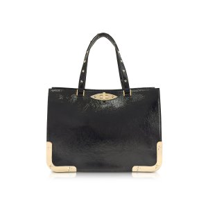 RED Valentino Black Medium Double Handle Leather Bag at FORZIERI