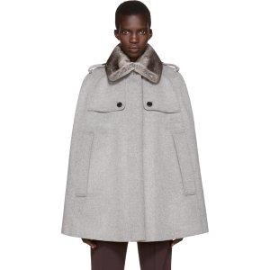 Burberry: Grey Fur Collar Wolesley Cape