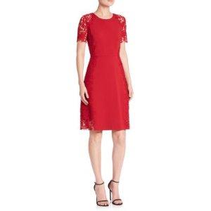 Elie Tahari Hudson Lace Trim A-Line Dress