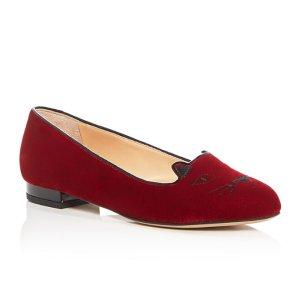 Charlotte Olympia 酒红色小猫鞋