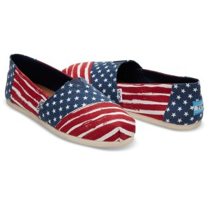 Red and Navy Americana Painted Stripe Print Women's Classics | TOMS®