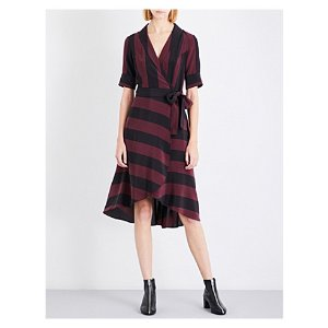 Striped silk-crepe de chine wrap dress