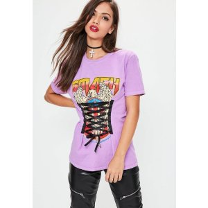 Purple Smash Lace Up Graphic T-Shirt