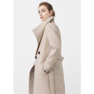Wide lapel wool-blend coat - Women