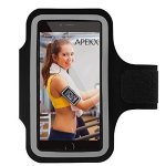 APEKX Cellphone Sports Armband: Super Comfort Fit, Ultra Slim, Soft Lycra, Gym, Running Water Resistant forfor iPhone 6 Plus/6s Plus(5.5-Inch), Samsung Galaxy S7/S7 edge(Black).