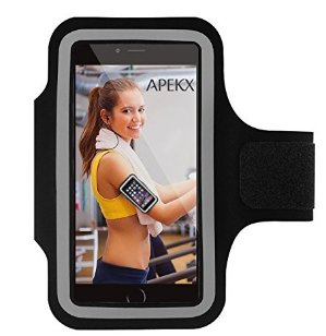 $1.35APEKX Cellphone Sports Armband: Super Comfort Fit, Ultra Slim, Soft Lycra, Gym, Running Water Resistant forfor iPhone 6 Plus/6s Plus(5.5-Inch), Samsung Galaxy S7/S7 edge(Black).