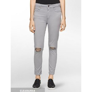 CALVIN KLEIN JEANS ULTIMATE SKINNY DISTRESSED ANKLE JEANS