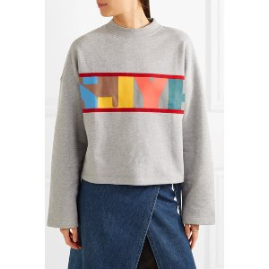 Oversized velvet-trimmed printed cotton-terry sweatshirt