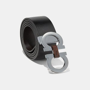Reversible Wood Bit Double Gancini Belt Belts