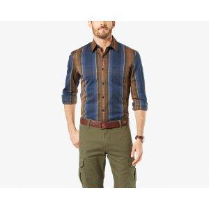 Premium Broken In Shirt, Slim Fit | Grey/Aqua Plaid | Dockers® United States (US)