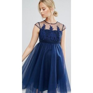 Chi Chi Maternity | Chi Chi London Maternity Embroidered Prom Dress With Button Detail And Cap Sleeve