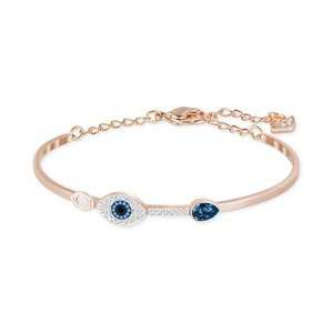 Swarovski Rose Gold-Tone Clear and Blue Crystal Evil Eye Adjustable Bangle Bracelet - Jewelry & Watches - Macy's