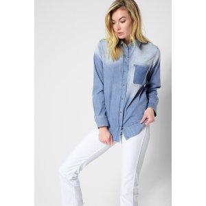 Vintage Boyfriend Denim Shirt in Oceana Authentic Blue - 7FORALLMANKIND