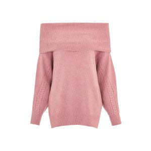 Cable Sleeve Bardot Jumper - Sweaters & Knits - Clothing