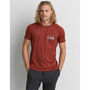 AEO 360 Extreme Flex T-Shirt, Orange | American Eagle Outfitters