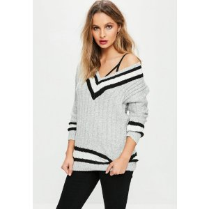 Grey Knitted Stripe Sweater | Missguided