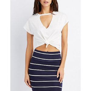 Knotted Cut-Out Crop Top | Charlotte Russe