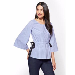 Side-Tie Detail Poplin Shirt – Stripe