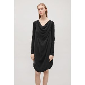 Dress with draped neckline - Black - Sale - COS US