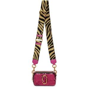 Pink Sequin & Zebra Small Snapshot Bag