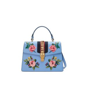 Sylvie Embroidered Leather Top-Handle Bag by Gucci