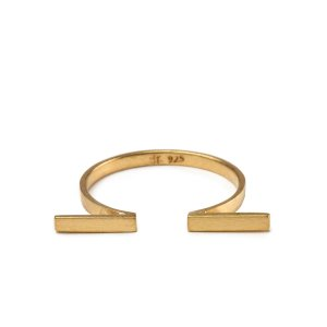 Double Horizontal Bar Open Ring, Gold Dipped | Dogeared