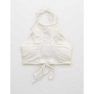 Aerie Crop Pineapple Lace Bikini Top , Soft Muslin | Aerie for American Eagle