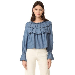 See by Chloe Ruffled Chambray Top | 15% off first app purchase with code: 15FORYOU
