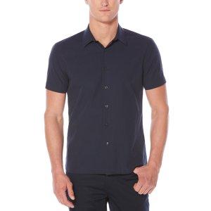 Short Sleeve Horizontal Linear Shirt - Perry Ellis