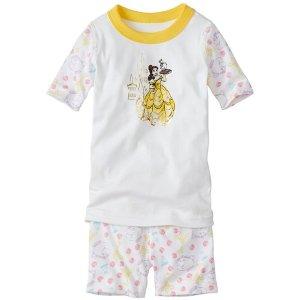 Kids Disney Beauty & The Beast Short John Pajamas In Organic Cotton | Girls Short Johns