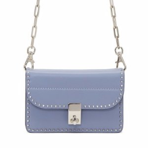 Valentino Blue Small Stud Stitching Wallet Chain Bag