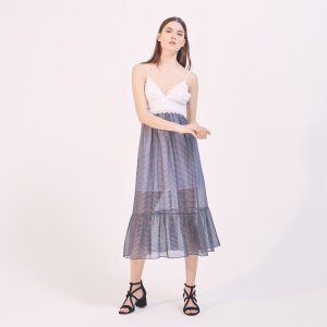 Two-Tone Dual Fabric V-Neck Dress - Dresses - Sandro-paris.com