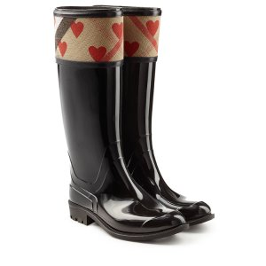 Patent Wellington Boots with Heart Print - Burberry