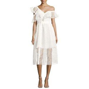 Self-Portrait Lace Frill Asymmetric Cold-Shoulder Midi Dress, White
