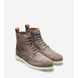 Men's ZEROGRAND Wingtip Boots in Tonal Rock | Cole Haan
