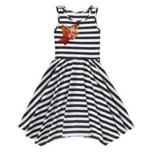Girls Black Stripe Bird Stripe Dress by Gymboree