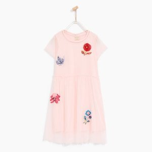 TULLE DRESS WITH EMBROIDERED FLOWERS - DRESSES-GIRL | 4-14 years-KIDS-SALE | ZARA United States
