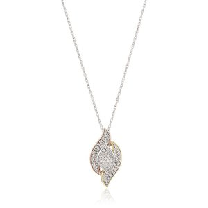 Yellow & Rose Gold Plated Sterling Silver Marquise Design Diamond Pendant Necklace(1/4 cttw, I-J Color, I2-I3 Clarity), 18