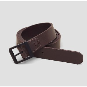 Leather Belt with Textured Metal Roller Buckle