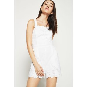 Embroidered Lace Overall Romper
