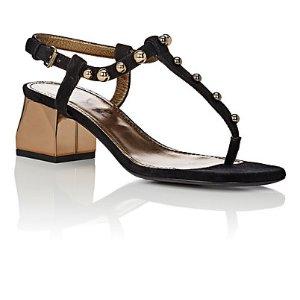 Lanvin Embellished Suede T-Strap Sandals | Barneys Warehouse