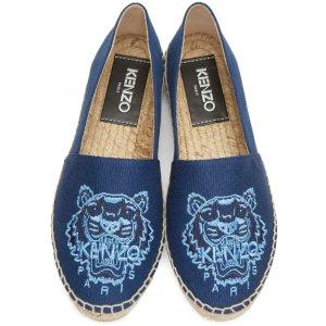 Kenzo: Blue Canvas Tiger Espadrilles