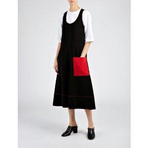 Stretch Flou Bia Dress in Black/Ruby | JOSEPH